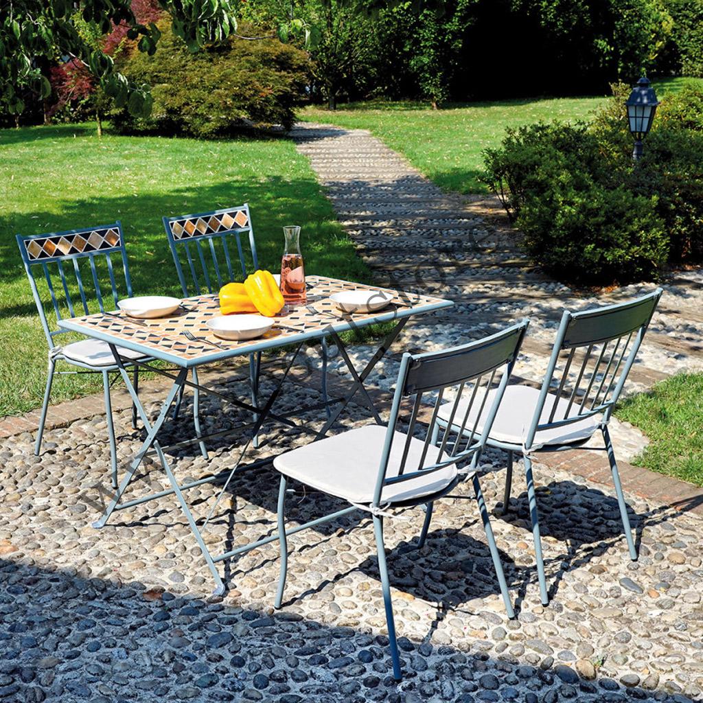 Tavoli Da Giardino Ferro E Ceramica.Set Da Giardino In Ferro Blu Moia Dsm 01 Con Mosaico In Ceramica