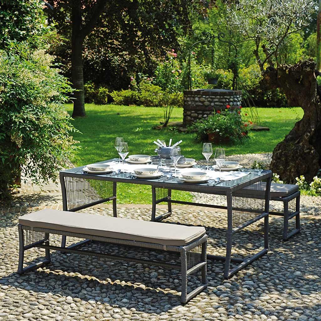 Panche E Tavoli Da Esterno.Set Da Giardino Con Panche E Tavolo Mama Garden Ds 05 In Rattan