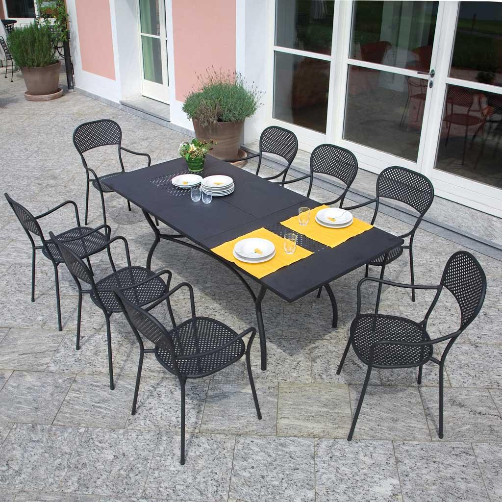 Tavolo Da Giardino In Ferro Allungabile.Tavolo Da Giardino Allungabile Ferro Antracite Ginevra Mama Garden