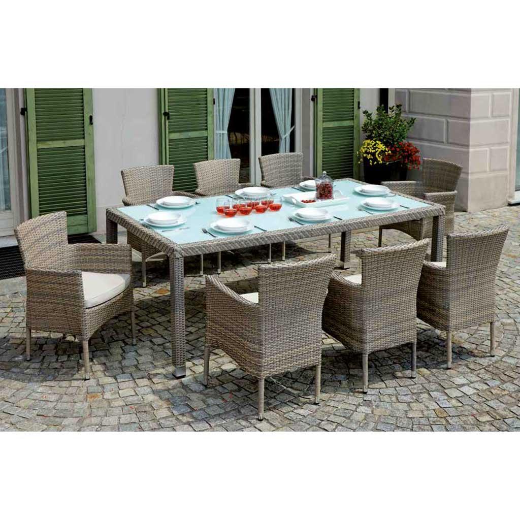 Tavoli Da Esterno In Rattan.Tavolo In Rattan Da Giardino Matera 210x110 Mama Garden Rtw 81