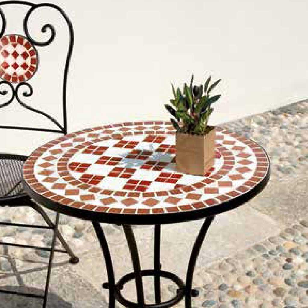 Tavoli Mosaico Da Giardino.Tavolo Mosaico In Ferro Nero Da Giardino Moia Ttm 11