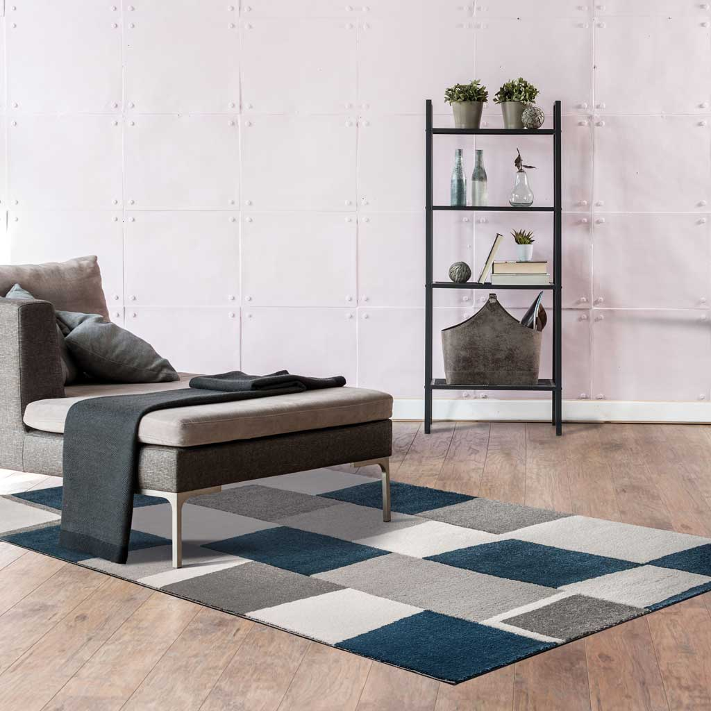 Tappeto moderno astratto blu e grigio Balta Blend di Kobel