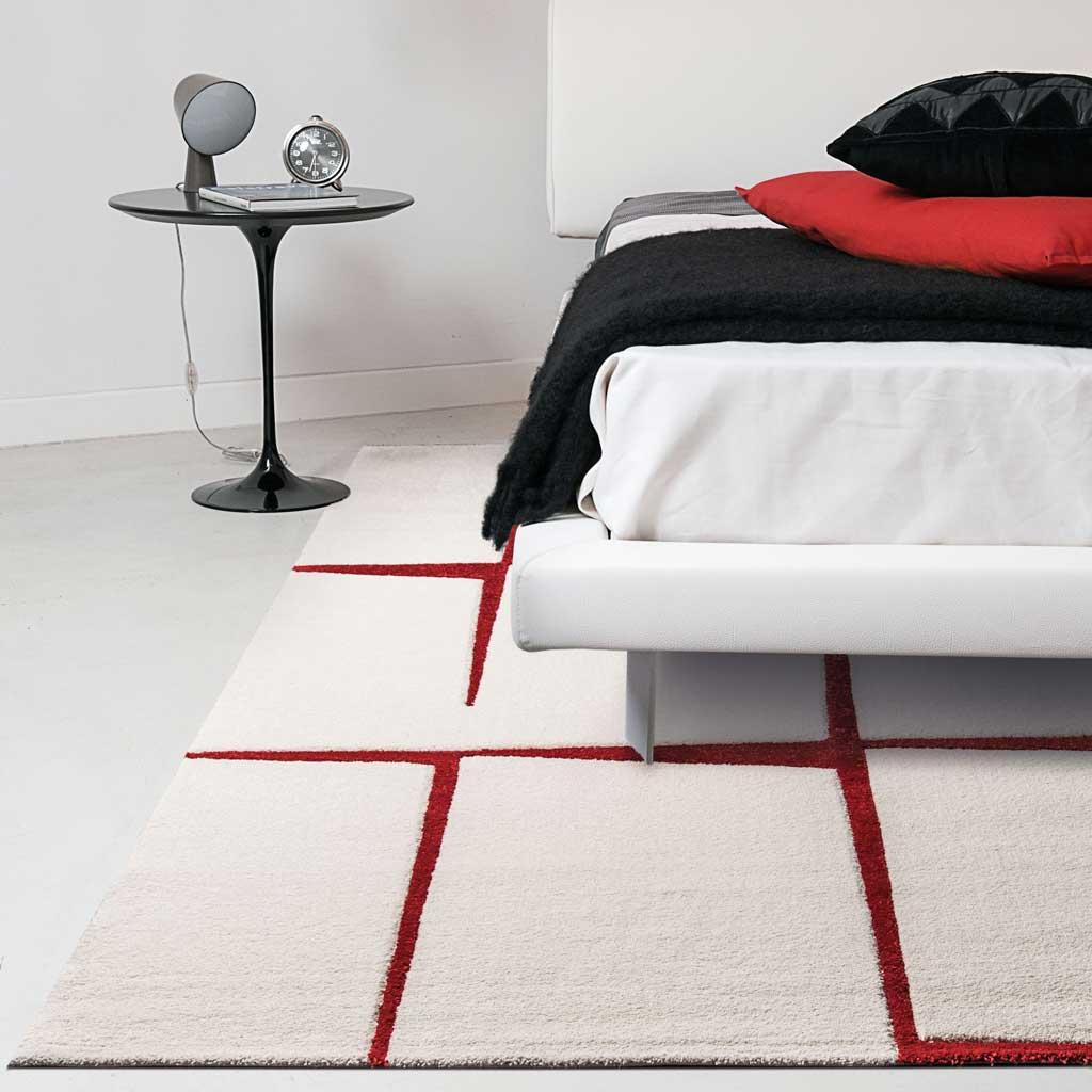 Tappeto A Quadri Bianco E Rosso Balta Blend Di Kobel