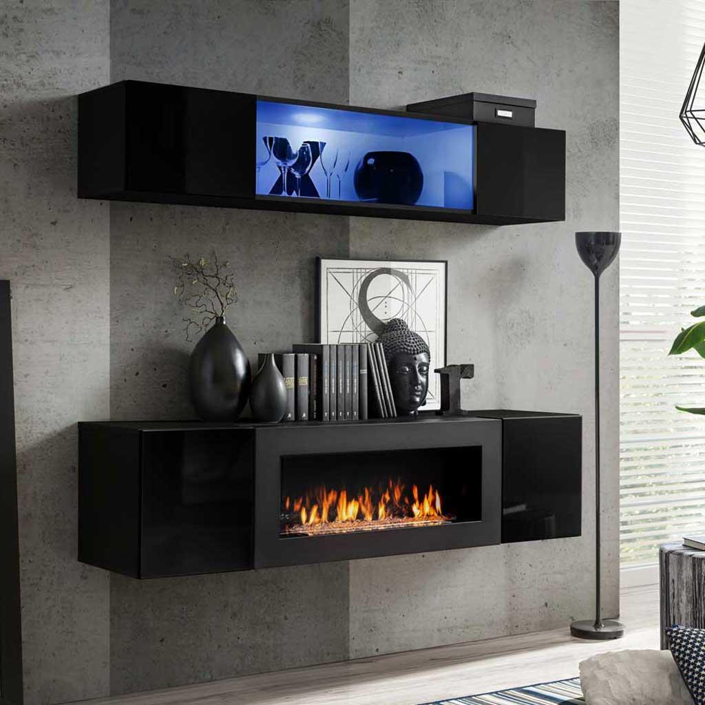Soggiorno Moderno Con Camino parete soggiorno con camino fly n theta design nera