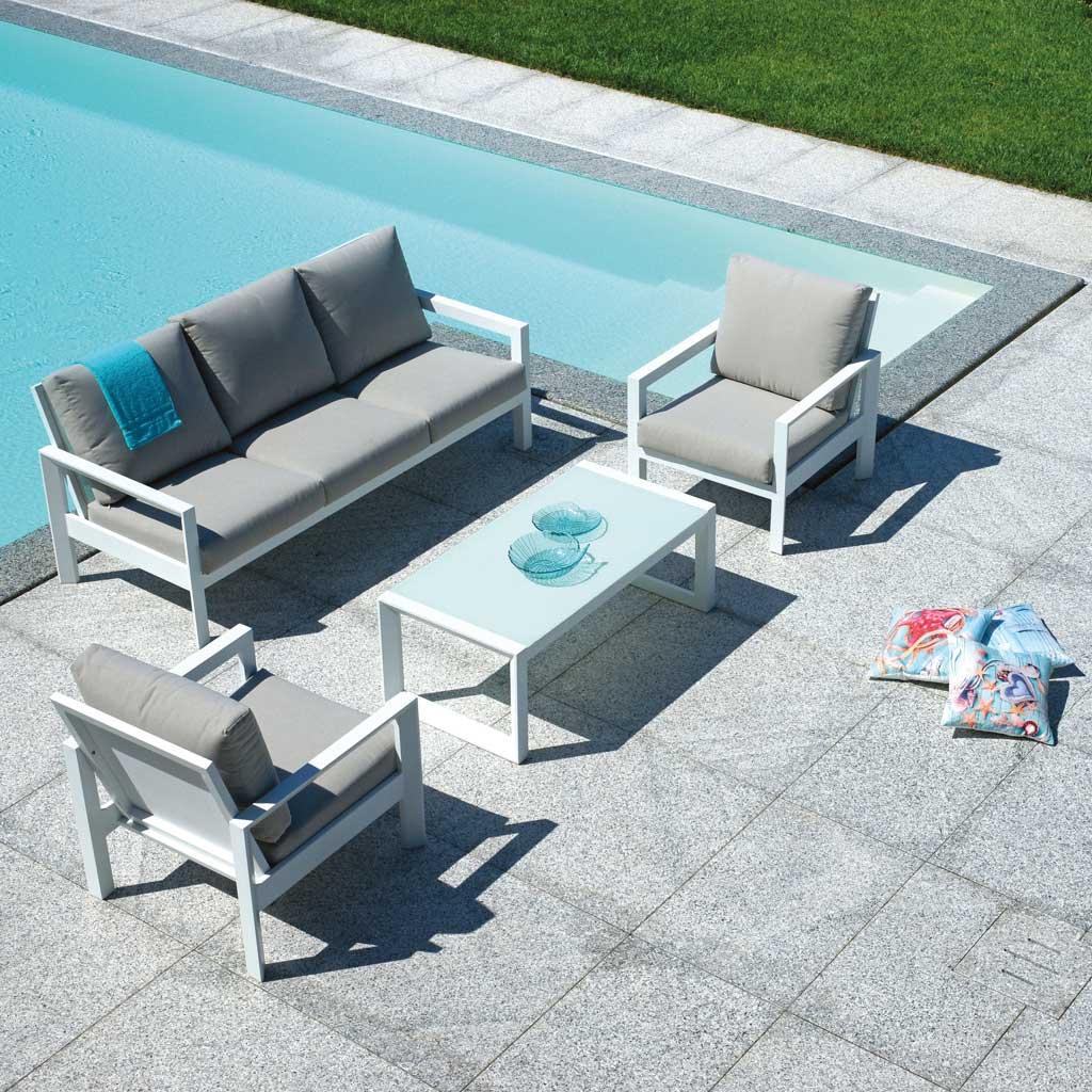 Arredo Giardino In Alluminio.Offerta Online Set Giardino In Alluminio Bianco Sandy Roma Mama Garden Set 109