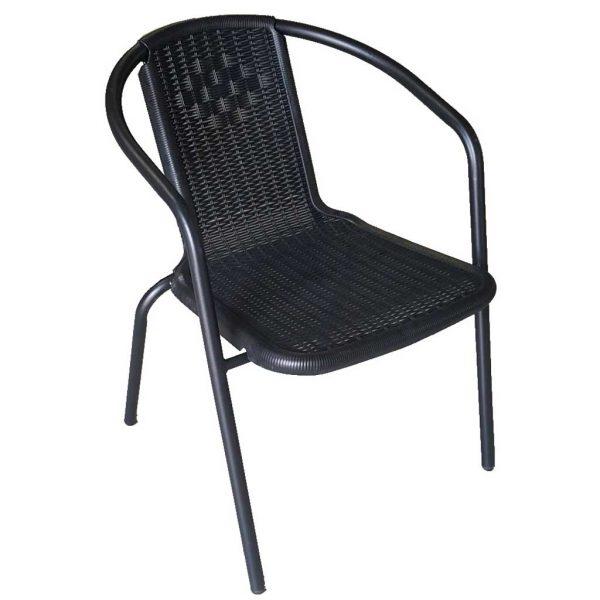 Sedie Da Esterno In Plastica.Sedia In Ferro Da Giardino Con Seduta In Plastica Nera Mama Garden
